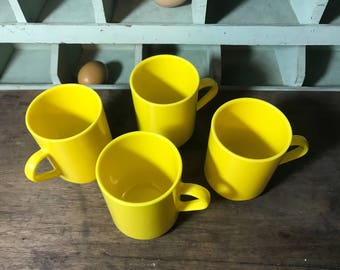 Four Stackable Yellow Mugs with Handles by Epicure - Picnic Set - Melmac - Melamine - Glamping - Play Set - Retro Kitchen