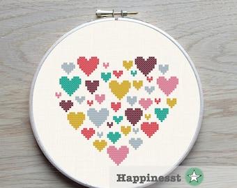 Modern cross stitch pattern heart, heart of hearts, small, love, PDF pattern ** instant download**