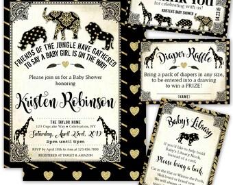 Safari Baby Shower Invitation, Jungle Baby Shower Invitation Girl, Safari Animals, Jungle Animals Baby Shower Invites, Printable/Printed sb