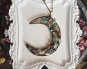Jasper Overload Crescent Moon Wire Wrap Pendant Vintage Brass Handmade Necklace