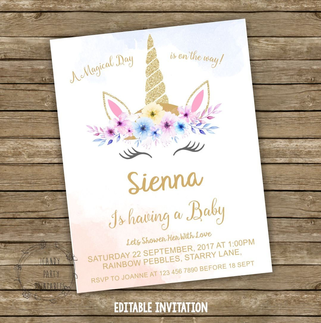 Unicorn Baby Shower Invitation Pastel Unicorn Baby Shower