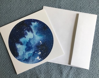 BLUE AURORA Greeting Card aurora borealis starry sky all occasions