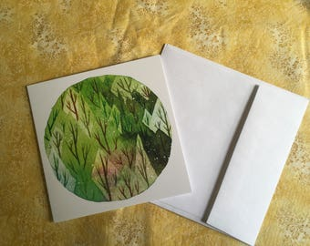 GREEN FOREST All Occasion Greeting Card trees pine trees boreal forest nature