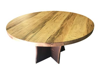 round dining table made from curly maple with live edge walnut base, Unique dining table with custom base