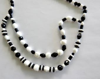 Black and White Poured Glass Necklace