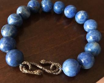 Light blue Lapis Snake clasp Bracelet