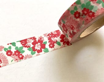 "Red Flower Washi 32.8 ft. Long 0.6"" Wide Tape Masking Gift Wrap Floral Tapes"