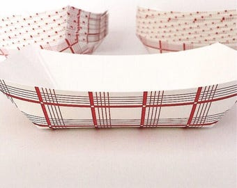 50 ct. 6oz Red Check Paper Food Tray / Boat Plaid Paper Nacho Fries Baskets