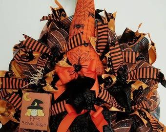 Halloween Wreath, Witch Wreath, Decomesh Halloween Wreath, Decomesh Halloween Witch Wreath, Witch Decor, Door Decor, Halloween Decor