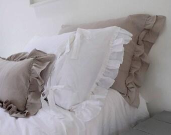 Linen Pillowcase, Ruffled Linen Pillowcase, Linen Bedding, Stonewashed Linen, Double Short Side Ruffle, Farmhouse Decor, PAIR