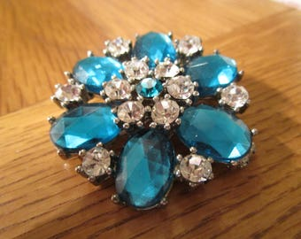 "vintage brooch floral design 1.75""across non matching new pin stones are clear/pear shaped turquoise"
