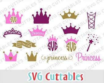Princess Crown SVG, Princess Monogram, svg, dxf, eps, wand svg, crown monogram frame, tiara svg, Silhouette, Cricut cut file, digital file