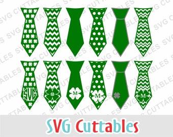 St. Patrick's Day svg, St. Patrick's day Tie, shamrock svg, svg, dxf, eps, tie svg, tie cut file, Silhouette, Cricut cut file, digital file