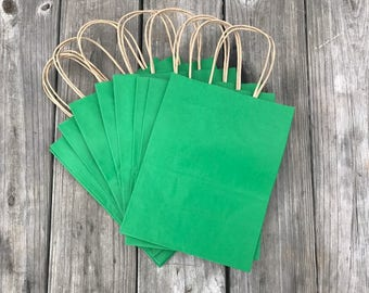 20 Pack Green Gift Bags/Kelly Green Gift Bags/Wedding Welcome Bags