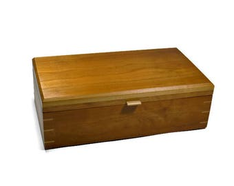 Jewelry Box Cherry Solid Wood Handmade Woodworking Furnuture Handcrafted Box