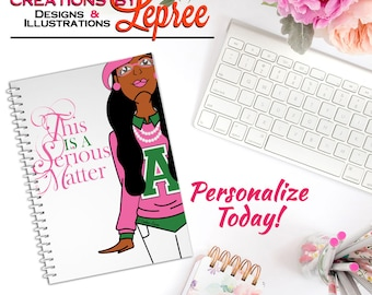 Notebook: Alpha Kappa Alpha Fashion Character Illustration This is a Serious Matter Notebook