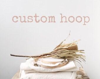 Custom embroidery hoop art