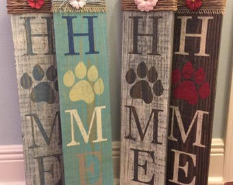 Paw Print Home Sign - Welcome - Paw Print sign - Home sign with Paw Print - Wooden home sign - Paw Print wooden sign  - Dog Sign - Cat Sign