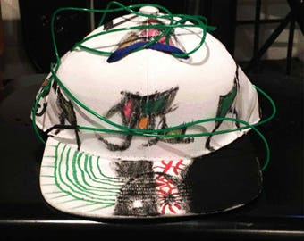 Double-stack hat with custom art and EL Wire