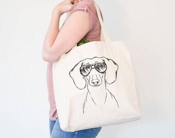 Hans the Dachshund Dog Canvas Tote Bag