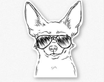 Amos the Chihuahua Decal Sticker, Chihuahua Art, Gifts For Dog Owner, Chihuahua Lover, Chihuahua Print, Cool Dog, Small Dog Breed