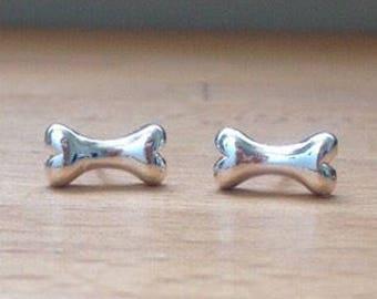 Sterling silver dog bone stud earrings