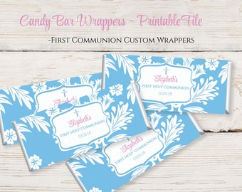 First Communion Candy Bar Wrappers - Personalized Printable Hershey Bar Wrappers - First Holy Communion Candy Wrapper 1105