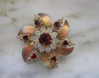 Vintage Gold Tone and Red & White Rhinestone Flower or Pinwheel Pin or Brooch