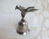Silver Plated Bell with Bird on a Branch - Tiny Ringing Bell Nature Leaves