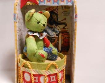Circus teddy bear, little circus bear in fabric, handmade