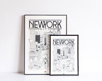 New York City - series illustration * Travel With Me *. Black and white. 32x45cm
