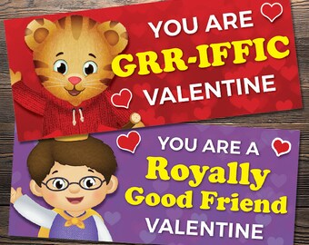 Daniel Tiger Printable Valentine's Day Cards / Treat Bag Fold-over Cards - 5 CARDS!