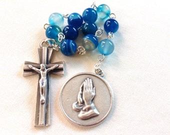 Blue Catholic Pocket Rosary with Serenity prayer