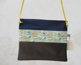 Indigo birds leatherette clutch bag