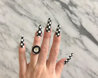 Checker Print Nails, set of 10 coffin press on nails