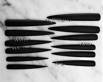 XXXtra Long Pierced Nails, set of 12 matte black stiletto nails
