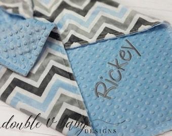 Personalized Minky Baby Blanket, Boy Minky Blanket, Chevron Minky Blanket, Boy Baby Blanket, Chevron Baby Blanket