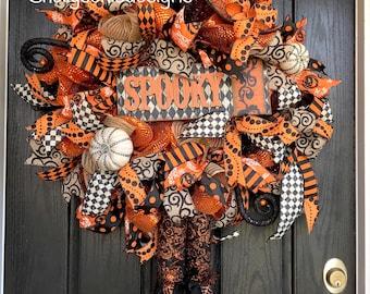 Wicked Witch Wreath, Halloween deco mesh wreath, Halloween wreath,Witch Halloween wreath, witch wreath, witch boots,Elegant Witch wreath