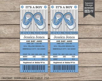 Baby shower invitation Baby boy shoes ticket invitations printable - Instant Download Editable PDF