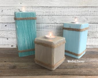 Beach candle holders, Tea light candle holder, Candle holder set, Candle pillars, Beach wedding decor, Wedding candle holder, Candle holder