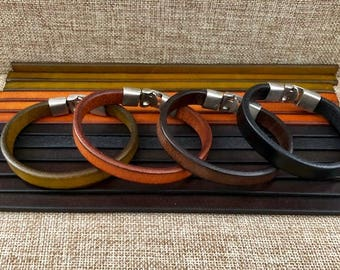 Mens Leather Bracelets, Quality Men's Leather Gift, Metal Clasp, Black and Brown Bracelet  JLA-54