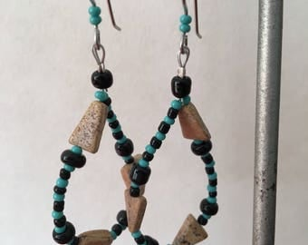 Teardrops: Turquoise, Black and Picture Jasper