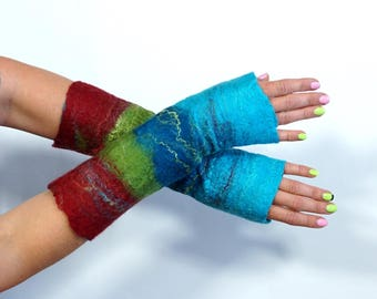 Mittens, fingerless gloves, arm warmers, white, black, pink - Feltmondo