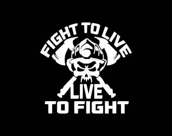 Firefighter Decal, Fight To Live Live To Fight Decal,Firefighter Car Decal First Responder Decal,Firemen Decal Fireman Car Decal Ladderman