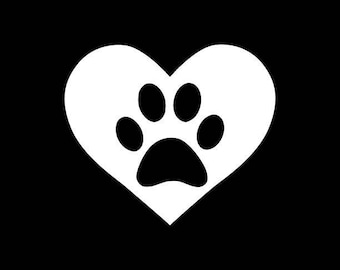 Dog Decal Cat Decal Pet Paw in Heart Car Decal Truck Phone Yeti Computer Wall Laptop Tumbler Sticker!