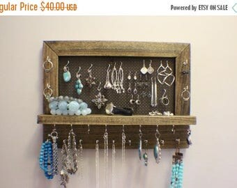 ON SALE Amazing Ash Stained Wall Mounted Jewelry Organizer, Wall Organizer, Jewelry Display, Necklace Holder, Earring Organizer