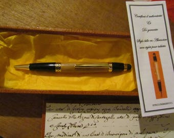 BALLPOINT PEN WOOD TURNS IN APRICOT WITH STYLUS FOR TABLET