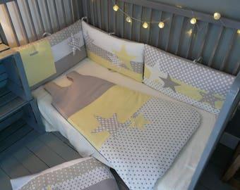 tour de lit chouettes et toiles bleu canard et gris. Black Bedroom Furniture Sets. Home Design Ideas