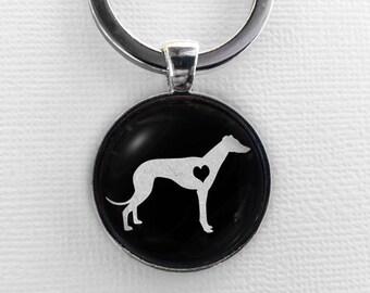 Greyhound Keychain, Glass Pendant Keyring, Cute Dog Lover Gift, Art Charm Jewelry, Pet Memorial Whippet Italian Greyhound Key Chain Key Ring