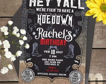 Hoedown Kids Birthday Invitation, Kids Birthday Card, Digital Birthday Invitations, Digital Birthday Card, Printable Birthday Invite